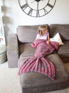 Mermaid Blanket, Mermaid Tail, Crochet Blanket, Mermaid Throw Blanket, Child, adult, toddler, Mermaid Tail Cacoon, Pink/Teal, Purple/Teal