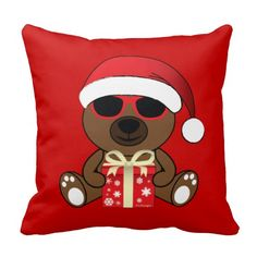 Adorable Cool Santa Bear with sunglasses and gift with snow flakes Red Throw Pillow by #PLdesign #CoolSantaBear #ChristmasGift