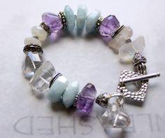 artisan bracelet chunky bracelet amethyst bracelet by molliecarey, $55.99