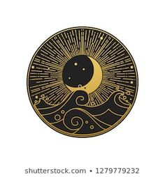 I'm thinking that the black and gold is unrealistic but I do like the idea of a sun/moon and ocean waves being incorporated somehow. Any gold color that can be skillfully integrated would be really awesome as well! Painting Inspiration, Art Inspo, Graphic Art, Graphic Design, 3d Cnc, Sun Art, Oriental Style, Tattoo Drawings, Tattoos