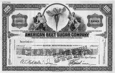 American beet sugar company 100 shares common stock certificate Specimen