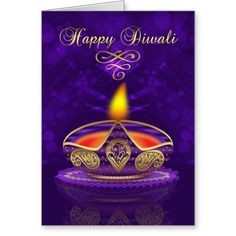 Diwali Greeting Card In Gold And Purple With Light A stylish Diwali card that is also timeless, with a beautiful lamp lighting your way to a happy Diwali and bringing love and joy, with blended bokeh lights in the background...read more