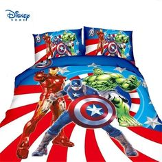 Single 2pcs,01 Cartoon Cotton Avengers Bedding Set Twin Full Size Comforter Sets for Boy Girls Spiderman Beddings and Bed Sets Duvet Cover Sets