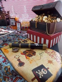 Great Pirate themed birthday party!  I love the Treasure chest full of different gold wrapped candy and jewels! Perfect.  CatchMyParty.com