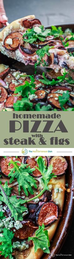 Homemade Pizza with Three Cheeses, Steak and Figs | The Mediterranean Dish. Now here is a homemade pizza like you would eat at a Mediterranean pizzeria. Get the easy recipe with step-by-step pictures. Homemade pizza dough with rosemary topped with three kinds of cheeses, steak, figs, kale and red onions. And don't forget to add a little drizzle of honey.