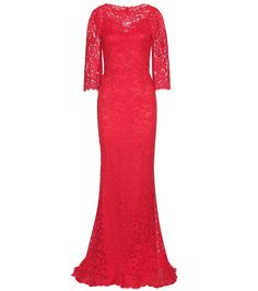 Red cotton-blend lace gown