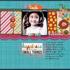 Layout using one of Sweet Simple Vol. 2 templates by JB Studio that is included in her Simple Sweet $5 Grab Bag @ Gingerscraps.  Also used her kit I Am Happy available at both Gingerscraps and Gotta Pixel.