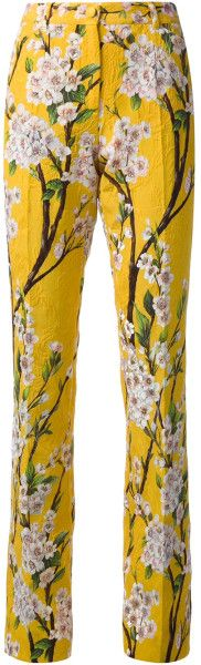 Giane Capato:  Dolce & Gabbana Floral Print Trousers in Orange (yellow & orange) -