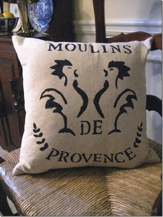CONFESSIONS OF A PLATE ADDICT: French Grain Sack Pillow...and...A Bunny Chef!
