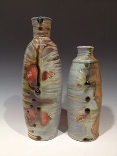 Wood Fired stoneware vases by Justin Rothshank.