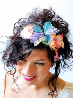 Ombre feather butterflies headband /  Girl's or Women's headpiece  / watercolor organza flowers on Etsy, $26.00