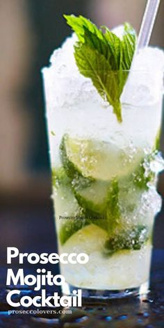 Prosecco cocktails do not get any fresher than this contemporary take on the classic Mojito. Summer Drinks, Fun Drinks, Alcoholic Drinks, Beverages, Healthy Drinks, Prosecco Cocktails, Mojito Cocktail, Pina Colada, Tapas