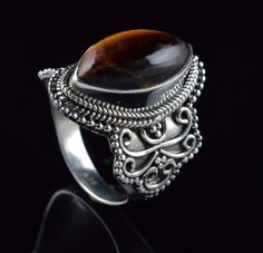 NATURAL TIGERS EYE GEMSTONE MENS HANDMADE RING SIZE US 9.75 925 STERLING SILVER  #Unbranded