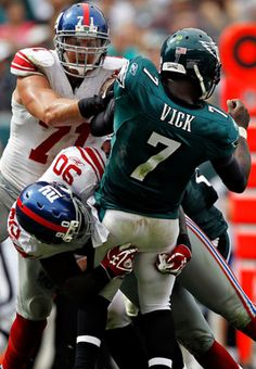 Jason Pierre-Paul and Dave Tollefson sack Michael Vick on this second-half play. 2011, Wk 3, 29-16 victory over the Eagles