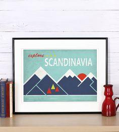 Rétro print, affiche, explorer la Scandinavie, découvrir la Scandinavie, paysage scandinave, affiche publicitaire, décoration murale impression, coucher de soleil, rétro,