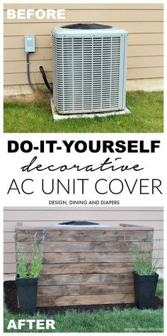DIY AC Unit Cover The outside of your home is just as important as the inside and the AC unit is something you may want to hide to up your curb appeal. For this you can an AC unit cover. Read on to learn how you can do this. Ac Unit Cover, Ac Cover, Diy Ac, Outdoor Pallet Projects, Pallet Ideas, Diy Pallet, Outdoor Ideas, Pallet Patio Decks, Pallet Benches