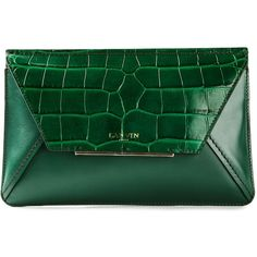 LANVIN 'Rigid' cluch (19 640 UAH) ❤ liked on Polyvore featuring bags, handbags, clutches, green, green croc handbag, crocodile handbags, chain strap handbag, crocodile embossed handbags and embossed handbags
