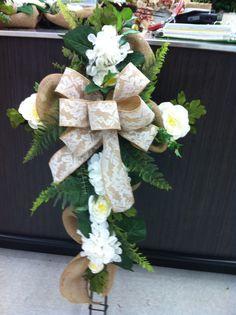 Burlap and lace memorial cross #1  store 4930