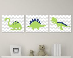 Dinosaur Nursery Art Print Chevron, Green and Navy Dinosaur Baby Art Print and Nursery Wall Art Prints Baby Boy Room Decor Set of 3 H139 This listing is for 3 art prints only - frame not included. These prints are professionally printed on high quality heavyweight matte paper with archival inks. Please be aware that colour variations may occur due to the differences in computer monitors. IF YOU WOULD LIKE TO CUSTOMIZE YOUR PRINTS: When checking out, please leave a message in the Note to S...