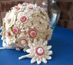 embroidered felt bouquet & Boutonniere