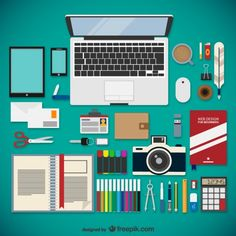 Web designer equipment collection Free Vector