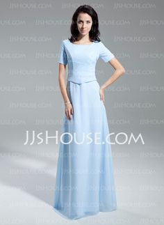 A-Line/Princess Scoop Neck Floor-Length Chiffon Mother of the Bride Dress With Ruffle (008014954)