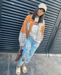 Cute Swag Outfits, Chill Outfits, Dope Outfits, Flannel Outfits, Tomboy Outfits, Teenager Outfits, Trendy Outfits, Black Girl Fashion, Teen Fashion