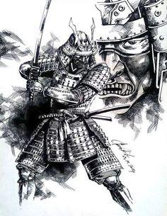 samurai by dikeruan on DeviantArt Samurai Tattoo, Samurai Drawing, Samurai Artwork, Shogun Tattoo, Body Art Tattoos, Sleeve Tattoos, Demon Tattoo, Sketch Tattoo, Tattoo Sketches