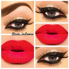 makeup red lips, lip colors, and cat eyes Gorgeous Makeup, Love Makeup, Makeup Inspo, Makeup Tips, Makeup Ideas, Amazing Makeup, Gorgeous Eyes, Perfect Makeup, Pretty Makeup