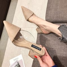 Pointed Toe Women Summer Shoes Fashion PU Square Heels Pumps Chaussure Femme Dress Party Shoes Woman Slip-on Sandals Slippers High Heels For Prom, Cute High Heels, Platform High Heels, High Heels Stilettos, Strappy Heels, Womens Summer Shoes, Womens High Heels, Heels Outfits, Casual Heels