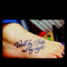 Walk by faith, not by sight foot tattoo – foot tattoos for women quotes Faith Foot Tattoos, Foot Tattoos For Women, Cool Tattoos For Guys, Trendy Tattoos, Unique Tattoos, Time Tattoos, Body Art Tattoos, New Tattoos, Tatoos