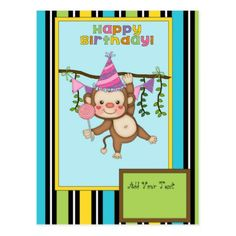 Happy Birthday Hanging Money Girl Post Card - postcard post card postcards unique diy cyo customize personalize