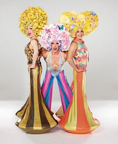 Get a load of these phenomenal costumes from the Broadway touring company of Priscilla Queen of the Desert. Wouldn't it be amazing to show up trick or treating in these costumes! Drag Queens, Drag Queen Costumes, Priscilla Queen, Broadway, Flower Costume, Wig Hat, Sister Act, Green Organics, Queen Makeup
