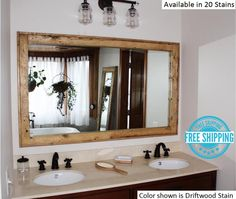 FREE SHIPPING - Double Vanity Herringbone Reclaimed Wood Mirror by Lane of Lenore - 20 Stains -Reclaimed Wood Mirror -Large Wall Mirror by LaneofLenore on Etsy https://www.etsy.com/listing/509163978/free-shipping-double-vanity-herringbone
