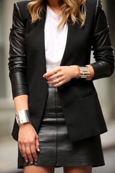 Street fashion leather skirt and leather sleeves blazer