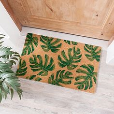 Give your front door a touch of summertime style with this Palm Leaf Doormat! Its palm leaf print will add a little tropical flair to your home just in time for warmer weather. Palm Beach Decor, School Door Decorations, Coir Doormat, Cricut Craft Room, Tiki Room, Welcome Mats, Tropical Paradise, Leaf Prints, Beach House Decor