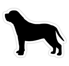 mastiff silhouette waterproof die cut sticker