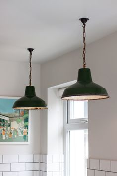 We love these beautiful rustic industrial pendant lights in the Hither Green Shaker Kitchen by deVOL. They work perfectly with the muted paint colours and lovely white metro tiles! A great eclectic contemporary look. Industrial Light Fittings, Industrial Pendant Lights, Industrial House, Rustic Industrial, Farmhouse Lighting, Rustic Lighting, Kitchen Lighting, Edwardian House, Shaker Kitchen