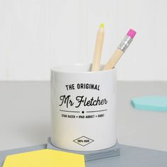 This trendy personalised pen pot, made unique with your name and descriptives of your choice, is perfect for home office organisation! Keep pens and pencils in check with this unique desk tidy.  This would be ideal if you're looking for something personalised and special as a gift for students,or perhaps a difficult to buy for teen in your family. Maybe you have a friend or family member who always has a messy desk with pens and pencils all over and wants to get more organised. Or it could…