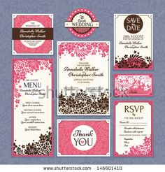 Set 2 of wedding cards. Wedding invitations, Thank you card, Save the date card, Table card, RSVP card and Menu.