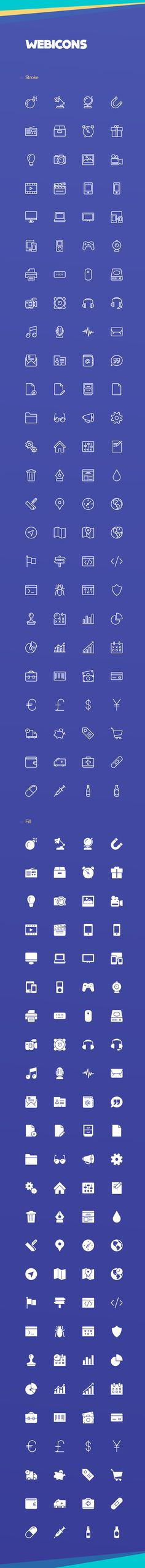 Webicons – 100 Stroke & Fill Icons on Behance Web Design, Tool Design, Web Icon Vector, Simple Icon, Graphic Artwork, Branding, Layout, Small Icons, Icon Font