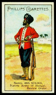 Cigarette Card - 45th Sikhs British Soldier, British Army, British Indian, Military Art, Military History, Indiana, British Uniforms, Collector Cards, Army Uniform