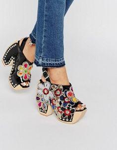 bb3afb1f73e Jeffrey Campbell Tove Flower Platform Sling Heeled Shoes Asos Shoes