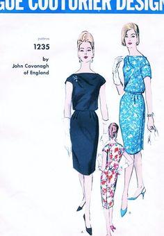 1960s CAVANAGH Slim Cocktail Dress Pattern Vogue Couturier Design 1235 Draped Shoulder Unique Side Back Button Bust 38 Vintage Sewing Pattern UNCUT