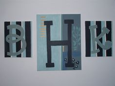 This is a friend of mines work!!  Canvas Initials by KraftMeKrazy on Etsy, $130.00