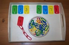 "PreK activity: number sense, recognition, counting. ""Let's Link N Learn."" Use ticket outline, print on cardstock or laminate, punch a hole. Colored Plastic links or substitute paper clips."