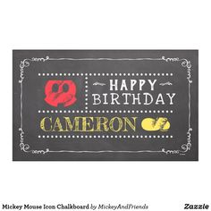 Shop Mickey Mouse Icon Chalkboard Banner created by MickeyAndFriends. Personalize it with photos & text or purchase as is! Happy Birthday Mickey Mouse, Disney Birthday, Birthday Party Themes, Birthday Banners, Party Banners, Birthday Invitations, Minnie Mouse, Chalkboard Banner, Birthday Chalkboard