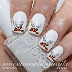 Christmas Nail Art Cute Hiding Reindeer Nail Water Decals Water Slides https://www.sweetworldofnails.com