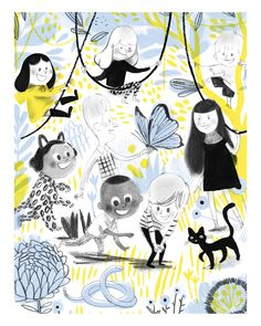 """""""A sneak peek at the Mile End Kids! A new, original series created by Isabelle Arsenault. People Illustration, Children's Book Illustration, Cool Stuff, Laurent Moreau, Graffiti, Art Gallery, Collages, Virginia Wolf, Losing A Pet"""