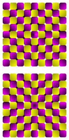 Rotating zabuton by Akiyoshi Kitaoka Each checkered background consists of squares but appears to be distorted like a bulge or concave. In addition, these figures show a retinal-slip-dependent anomalous motion illusion as well as a pattern-dependent rotating illusion.